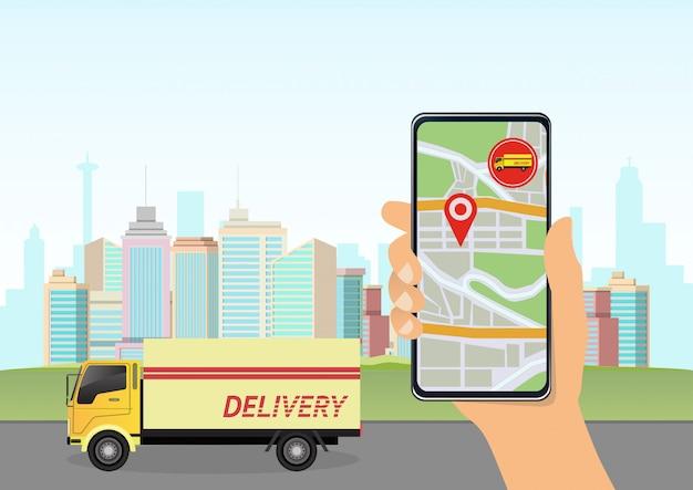 Seguimiento de entrega en teléfono inteligente.