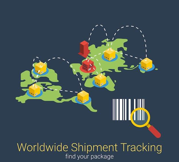 Seguimiento de envíos en todo el mundo búsqueda plana isométrica envío de pedidos en línea
