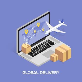 Seguimiento isométrico en línea. envíos y entregas globales por servicio aéreo. cajas de cartón con productos. aviones volando.