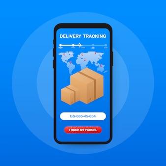 Seguimiento de paquetes. mano que sostiene el teléfono inteligente con paquete de cartón