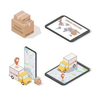 Seguimiento de pedidos isométricos e ilustraciones de entrega