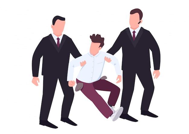 Seguridad con alborotadores personajes sin rostro de vector de color plano. los guardianes de los casinos vestidos con trajes negros evitan el fraude. el perdedor con los bolsillos vacíos resiste a los agentes. ilustración de dibujos animados aislado de delito grave