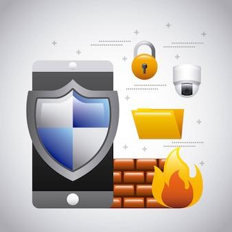 Seguridad de la carpeta de firewall de la protección del teléfono móvil