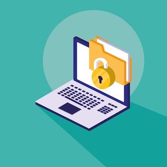 Seguridad cibernética con computadora portátil y carpeta