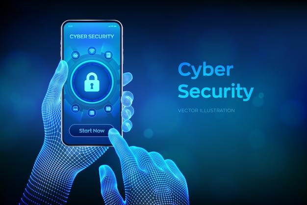 La seguridad cibernética. concepto de protección de datos en pantalla virtual. candado con icono de ojo de cerradura. primer teléfono inteligente en manos de estructura metálica.