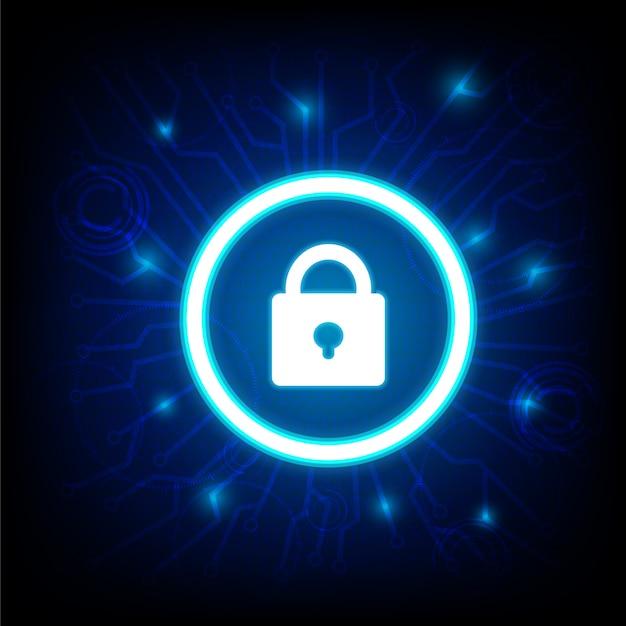 Seguridad cibernética con el icono de llave en la oscuridad