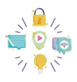 Seguridad de la creatividad de internet del mensaje de las redes sociales y de la red en la ilustración del estilo de dibujos animados