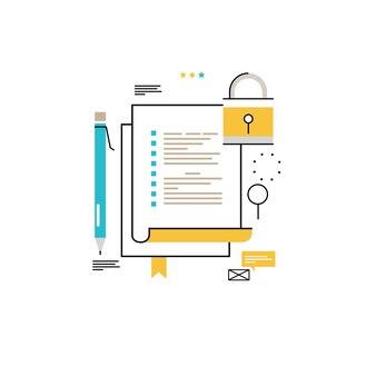 Seguridad de datos digitales de línea plana de diseño de ilustración vectorial para móviles y gráficos web. concepto de protección de datos