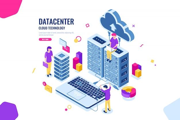 Seguridad de datos isométricos, ingeniero informático, centro de datos y sala de servidores, computación en la nube