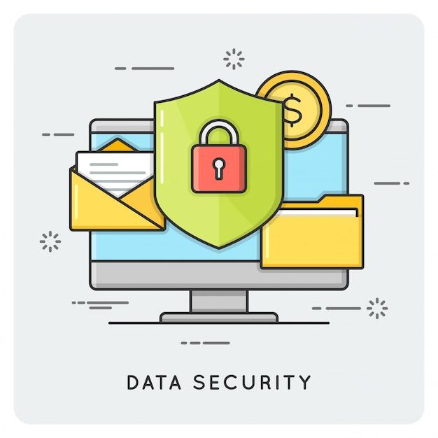 Seguridad de datos. línea plana delgada.