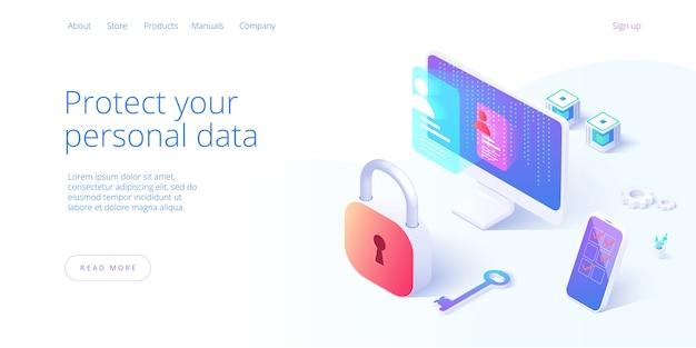 Seguridad de datos personales en ilustración isométrica
