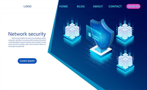 Seguridad de datos de red. protección de procesamiento de datos. información digital isométrica plana