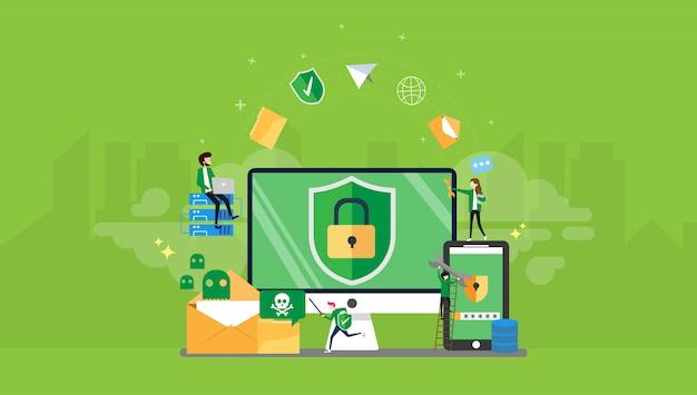 Seguridad de datos tiny people ilustración del personaje