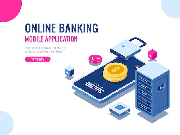 Seguridad del dinero en internet, pago de transacciones protegidas, aplicación móvil de banco en línea