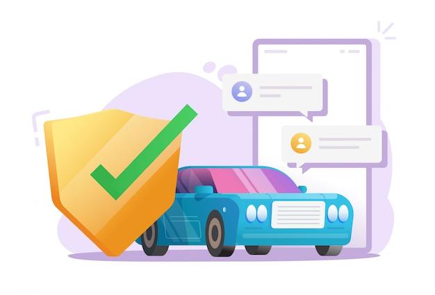 Seguridad de distancia remota del automóvil a través del teléfono móvil o sistema de control de protección del vehículo en la ilustración de dibujos animados plano de vector en línea de teléfono inteligente