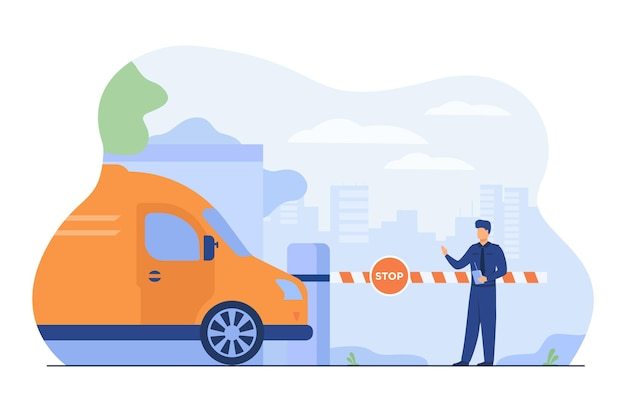 Seguridad en el estacionamiento. asistente de pie en el brazo de la puerta con señal de stop para controlar vehículos