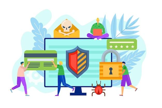 Seguridad informática contra la ilustración de tecnología de protección de datos de virus