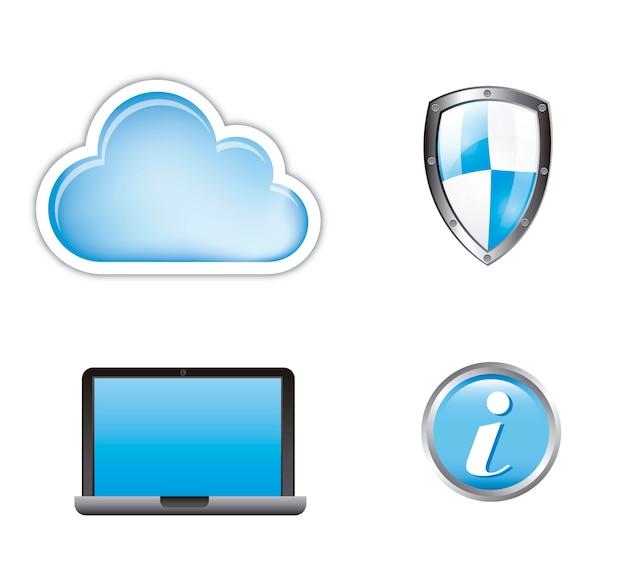 Seguridad informática en la nube aislada sobre fondo blanco vector
