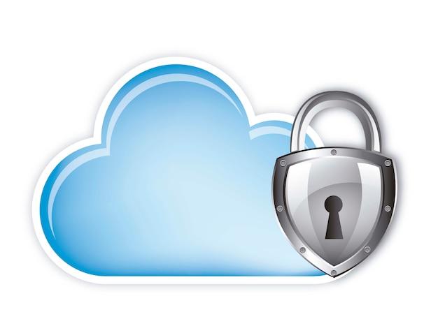 Seguridad informática en la nube sobre backgroundvector blanco