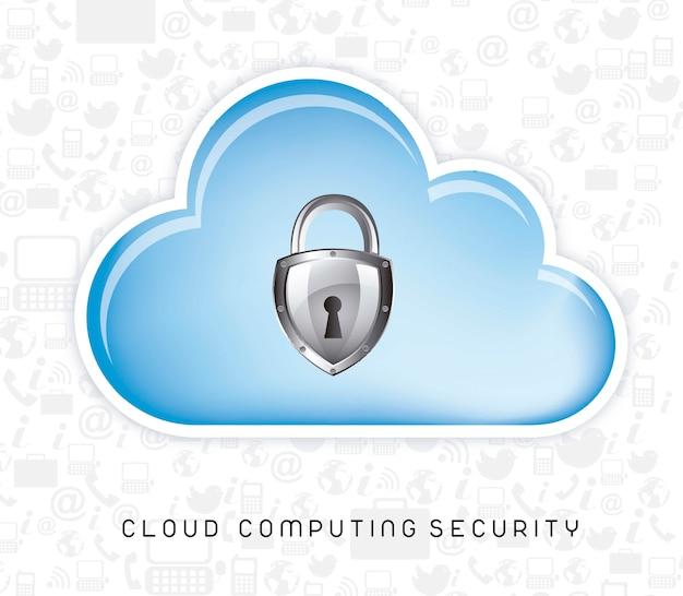 Seguridad informática en la nube sobre los iconos de silueta vector illustration