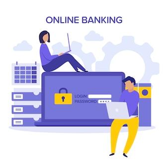 Seguridad de internet. verificación de cuenta y concepto de banca en línea. ilustración de personaje amarillo púrpura. inicie sesión en la cuenta, autorización de usuario, concepto de página de autenticación de inicio de sesión. usuario contraseña.