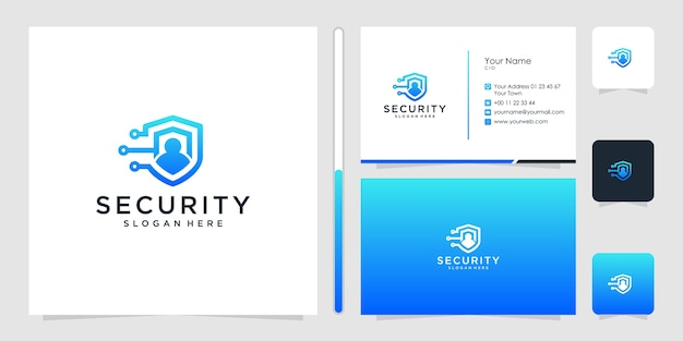 Seguridad logotipo diseño símbolo icono plantilla tarjeta de visita premium