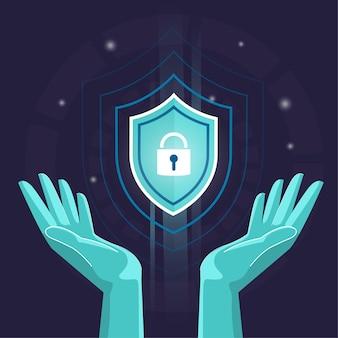 Seguridad de manos y protección antivirus, seguridad de datos cibernéticos en línea, seguridad de datos global, seguridad de datos personales, ilustración plana de representación de internet