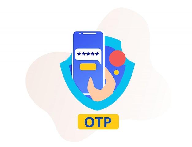 Seguridad otp o contraseña de una sola vez teléfono inteligente y escudo