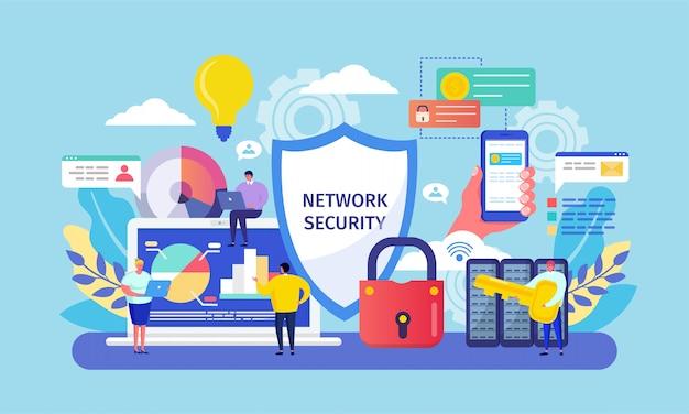 Seguridad de red, dibujos animados de pequeñas personas en red que trabajan en teléfonos inteligentes o computadoras portátiles, tecnología segura de sistema de respaldo de datos