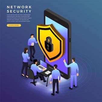 Seguridad de red isométrica