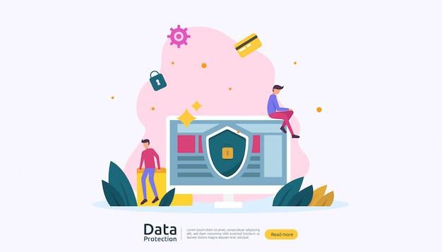 Seguridad de la red de seguridad y protección de datos confidenciales con carácter de personas.