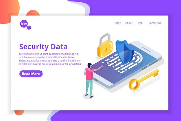 Seguridad, seguridad y protección de datos personales confidenciales concepto isométrico.