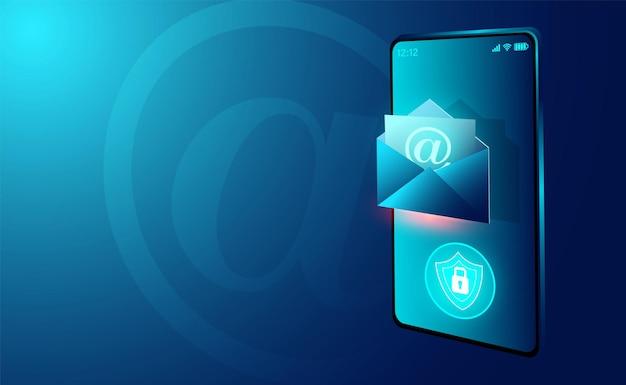 Seguridad del servicio de correo electrónico y mensaje de correo electrónico y correo web en el teléfono inteligente