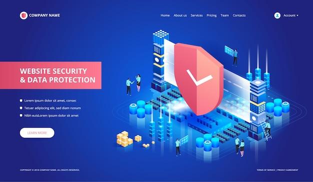 Seguridad del sitio web y protección de datos. ilustración isométrica