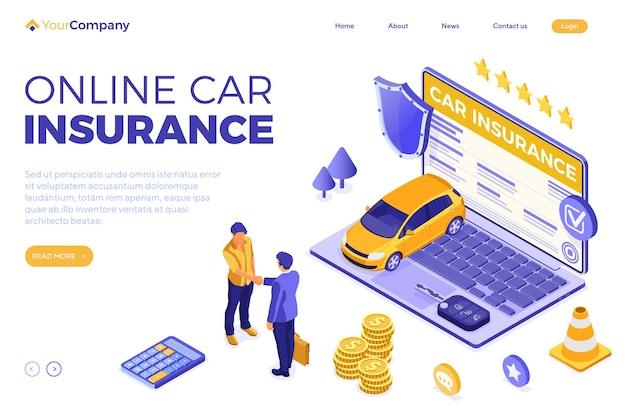 Seguro de automóvil en línea con póliza de seguro en computadora portátil con pantalla y apretón de manos de personas