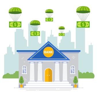 Seguro bancario contra crisis. ayuda y sistema de banca de inversión. ilustración plana