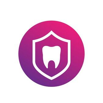 Seguro dental, protección vector icono redondo en blanco