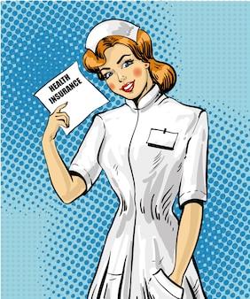 Seguro médico en estilo pop art