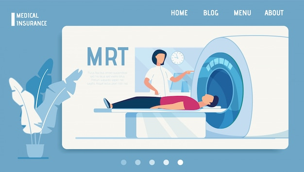 Seguro médico oferta de la página de destino diagnóstico mrt