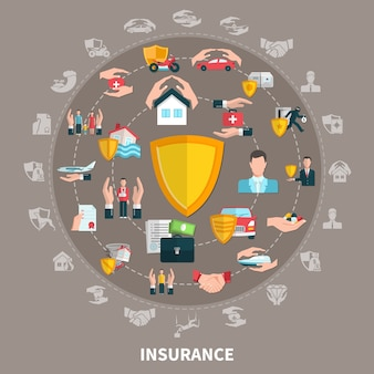 Seguro de negocios, salud, viajes, propiedad y transporte, composición redonda sobre fondo marrón gris