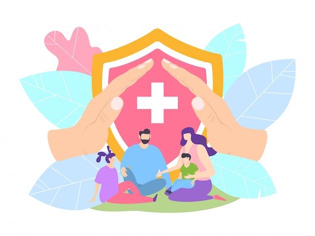 Seguro de salud familiar con clínica, ilustración del concepto de protección de la vida. padres e hijos protegidos por el hospital.