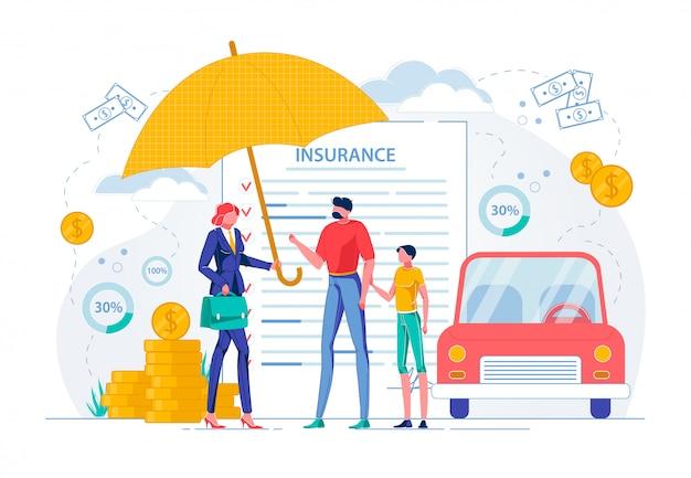 El seguro sugiere un contrato de garantía del automóvil.