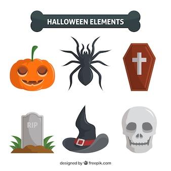 Seis atributos de halloween sobre un fondo blanco