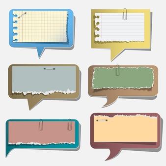 Seis burbujas de discurso de papel rasgado