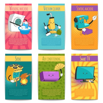 Seis carteles de colores sobre temas domésticos con electrodomésticos en estilo de dibujos animados plana