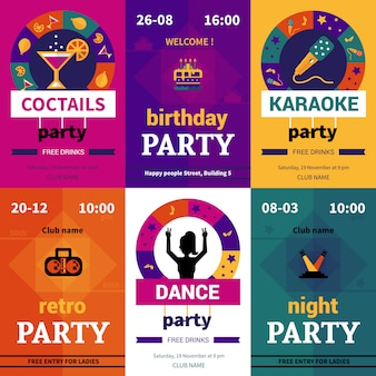 Seis carteles de fiesta de color