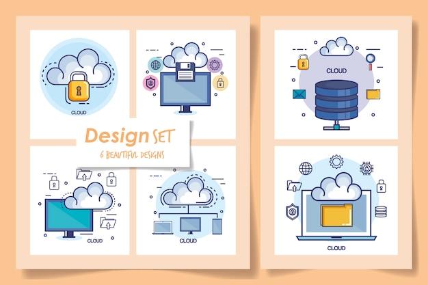 Seis de centro de datos e íconos