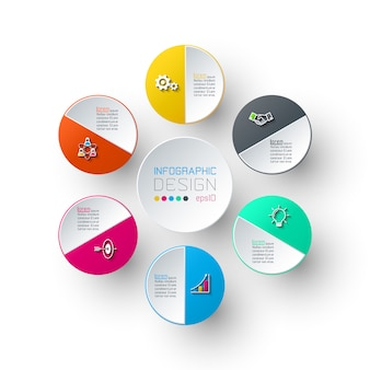 Seis círculos con infografías de iconos de negocios.