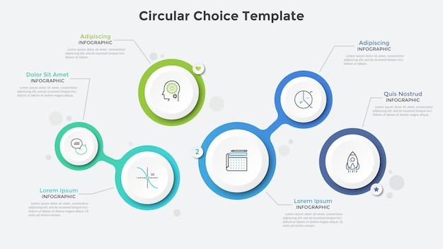Seis círculos o burbujas blancos de papel separados y conectados. plantilla de diseño de infografía realista. ilustración de vector creativo para presentación de negocios, diagrama de flujo o diagrama, interfaz de sitio web.