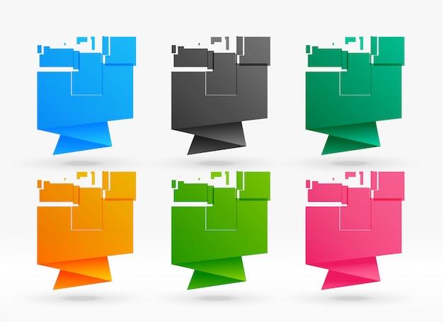 Seis coloridos carteles de origami abstractos